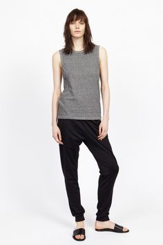 6397 | Resort 2015 | 12 Grey sleeveless tank top and black sweatpants