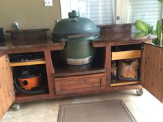 MORGAN design Big Green Egg table w/ plenty of storage and concrete tops! www.PoshPatios.com