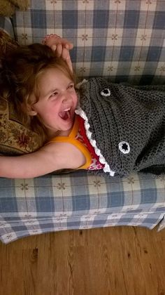 Crocheted Shark Blanket/Cocoon from newborn to Adult sizes only at lmqueenofcrochet.com