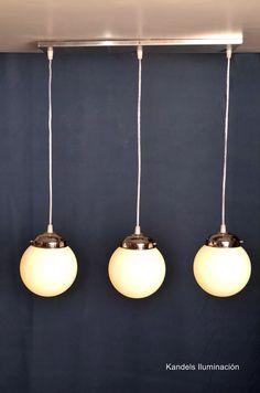 590PE lampara colgante globos vidrio satinado acero inoxidable