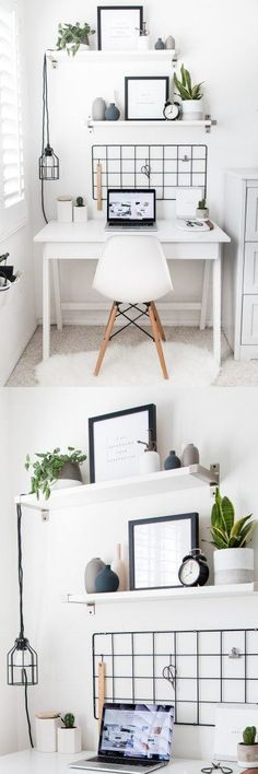 Home Office Style! deco ideas furnishing desk chair mirror home Office Style! home decoration desk chair mirror image drawer functional workplace optimally arrange open perfect stylish modern ikea roo Home Office Design, Home Office Decor, Office Style, Office Ideas, Desk Office, Apartment Office, Corner Office, Apartment Design, Cute Room Decor
