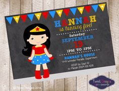 WONDER GIRL SUPERHERO Invitation, Printable Birthday Invitation, Superhero Girl Invitation, Wonder Woman inspired Chalkboard Invite by TweetPartyBoutique on Etsy https://www.etsy.com/listing/210112073/wonder-girl-superhero-invitation