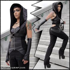 Salem hooded mini vest with adjustable harness belt by PlastikWrap