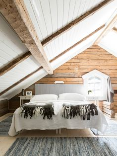 The Ultimate Swedish Cottage Painted In Falu Red Attic Master Bedroom, Attic Bathroom, Attic Rooms, Attic Spaces, Attic Playroom, Attic Loft, Bedroom Ceiling, Attic Renovation, Attic Remodel