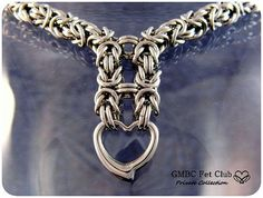 LOCKING Submissive Heart Collar - Stainless Steel Byzantine - Made ...