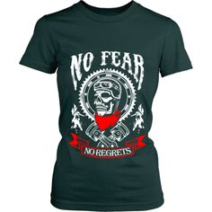 Motorcycle - 'No Fear' Women's Fitted Shirt Workout Shirts, Cave, Motorcycle, Tees, Mens Tops, Fashion, Moda, T Shirts, Fashion Styles