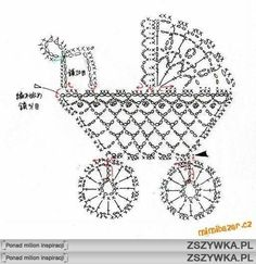 Free crochet pram appliqué, great for a new baby card