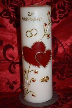 Kerze Rubinhochzeit RH-01