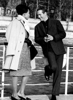 Paul Newman and Diahann Carroll on the set of Paris Blues (1961)