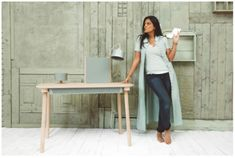 Rectangular wood veneer writing desk with drawers ADÈLE By Dizy design Thomas Merlin Indian Room Decor, Writing Desk With Drawers, Drawer Design, Indian Homes, Wood Steel, Decorating Blogs, Wood Veneer, Solid Oak, Decoration