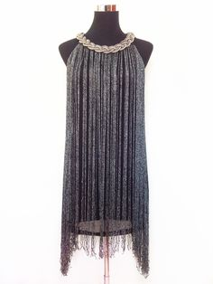 Find More Information about GREAT GATSBY OMBRE METAL HALTER NECK BLACK FRINGE BEADED 1920S FLAPPER CHARLESTON DRESS,High Quality fringe hem dress,China fringe dress Suppliers, Cheap dress knot from GEM Store on Aliexpress.com
