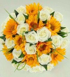 Golden Yellow Sunflower  Ivory Rose Bridal Wedding Bouquet £49