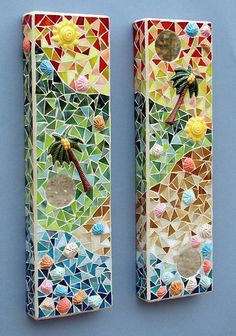 Stained Glass Mosaic Diptych Tropical Caribbean Breeze with Ceramic Palm Trees Wall Hanging
