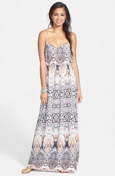En Crème Print X-Back Maxi Dress (Juniors) available at #Nordstrom