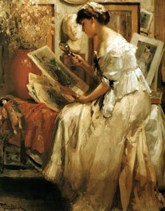 Fernand Toussaint (Belgian 1873-1955) ~ La Collectionneuse 1913