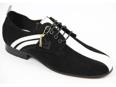 Delicious Junction Retro Mod Suede Badger Shoes in Black/White