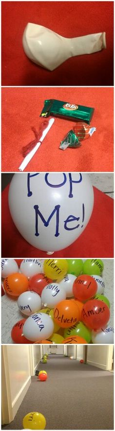 Surprise your residents by filling in balloons with treats and leaving them at their doors while they're asleep! Great as stress relievers during finals.