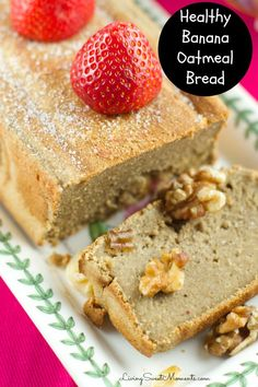 Healthy Banana Oatmeal Bread - this delicious bread is made in the blender without flour or refined sugar. Enjoy a slice for breakfast or as a snack. Yum!