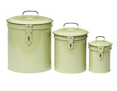 Decorative Metal Kitchen Canisters - Colorful Metal Canisters for Kitchen - Country Living     $18 set at Kraft Klub