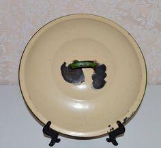 Tan Enamel Lid Green Handle & Trim Pot or Pan Lid by WVpickin