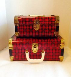 Vintage 1950's Red & Black Plaid Metal Luggage by nikkisuniques
