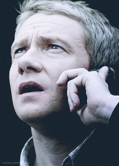 SHERLOCK (BBC) ~ Season 2, Episode 3: The Reichenbach Fall. John Watson (Martin Freeman) on the phone with Sherlock, who is on the roof. [Video/GIF]