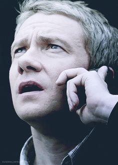SHERLOCK (BBC) ~ Season 2, Episode 3: The Reichenbach Fall. John Watson (Martin Freeman) on the phone with Sherlock, who is on the roof. [Video/GIF]