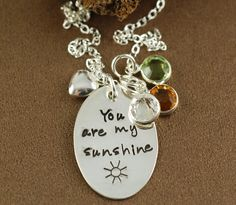 You are my sunshine Necklace, Heart Necklace, Hand Stamped Jewelry, Birhtstone Necklace, Personalized Necklace, Gifts for Mom by AnnieReh on Etsy