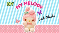 diy my melody sock plush a collaboration with minty mina d Friend Crafts, Hello Kitty, Kawaii Diy, Sock Crafts, Plush Pattern, Free Pattern, Sock Dolls, Sock Animals, Sewing Dolls