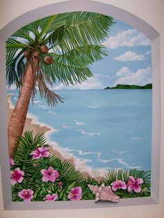 Island scene mural in acrylic on bathroom wall