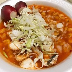 Day 10 of Vegan Mexico Merry Christmas Eve!   Vegan Pozole with Mushrooms topped with Canbage and Radish and splash of Lime and Salsa.  #mexico #veganmexico #veganmexicofood #mexicanfood #veganpozole #pozole