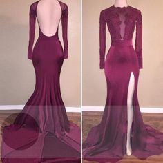 196 usd.Appliques Long Sleeves Mermaid Open Back Satin Prom Dresses Sexy High Slit Party Formal Gowns Long Train