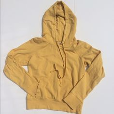 "Forever 21 Yellow Pullover Hoodie Sz M Pre-owned hoodie with kangaroo pouch. Loose thread near front of hood see photo. Long sleeves body length is 21"" and bust is 32"". Forever 21 Tops Sweatshirts & Hoodies"