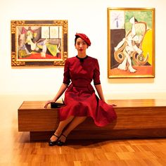 """The Art Gallery """"Dress - Vintage - Thrifted and Modern Hat - Vintage - LucysLuckyDeals Shoes - Modern - Naturalizer Bag - Vintage - thrifted Photography by Raab. 1940s Dresses, Vintage Dresses, Librarian Chic, School Looks, Vintage Fashion, Vintage Style, Work Wear, Peplum Dress, Art Gallery"""