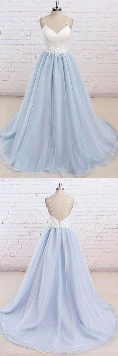 Spaghetti Straps Sweep Train Backless Lavender Tulle Prom Dress PG498 #prom #dress #lavender
