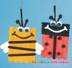 dondurma çubuğundan arı ve uğur böceği yapalım