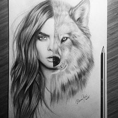 art, black, cara delevingne, drawing, girl, grey, person, sketch, white, wolf, First Set on Favim.com
