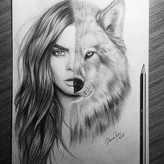 art, black, cara delevingne, drawing, girl, grey, person, sketch, white, wolf, First Set on Favim.com