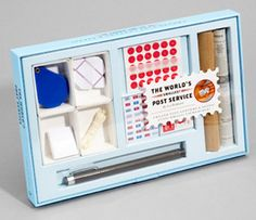 """Each """"mini post service"""" kit includes mini sheets, envelopes, stamps, gift boxes, newspaper, a micron pen and a teeny tiny magnifying glass to help you put your postal items together."""