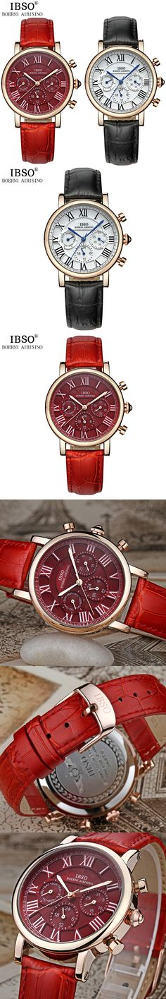 IBSO Week Display Watches For Women Complete Calendar Multifunction Female Watch Genuine Leather Strap Dial Reloj Mujer 2016 New