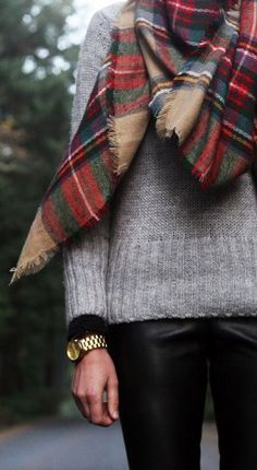Plaid scarf - khols grey sweater - black skinnies - j simps booties