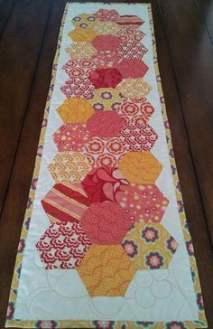 Your place to buy and sell all things handmade - Salt Air- Red and Yellow Modern Hexagon Table Runner Patchwork Table Runner, Table Runner Pattern, Quilted Table Runners, Small Quilts, Mini Quilts, Lap Quilts, Paper Piecing Patterns, Quilt Patterns, Patchwork Hexagonal