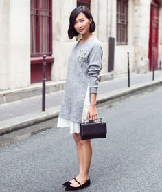 tunic sweater with brooch and mary jane flats