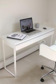 Ikea BESTA BURS slim computer desk in high gloss white