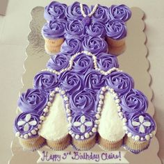 Sofia the first cupcake cake. Sofia the first birthday cake. Sofia the first cake idea. Www.thesweetestbaker.com
