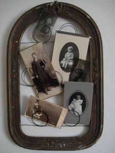 Antique Vintage Decor What a great way to use an old frame! Loop the wire to Display vintage photos. by Hercio Dias Old Frames, Vintage Frames, Vintage Decor, Vintage Photos, Vintage Photographs, Vintage Stuff, Antique Photo Frames, Empty Frames, Old Picture Frames