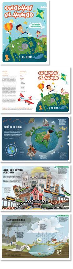 Diseño de libro para niños sobre el ciudado del medioambiente.  Trabajo realizado para 4M.