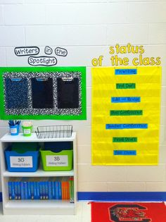 Writers workshop area..cannot find the pic on the link, but love the organization of this.