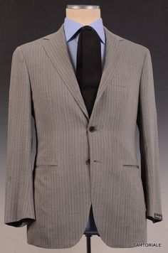 SARTORIO by KITON Napoli Gray Striped Wool Business Suit EU 54 NEW US 42 44