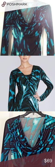 92eeddff45ef JOSIE NATORI Jersey Print Cowl Neck Draped Blouse NATORI Gorgeous Black &  Turquoise Print Top NWT